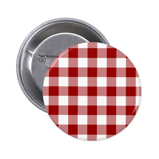Modelo rojo y blanco de la guinga pin redondo 5 cm
