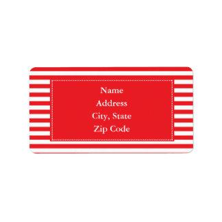 Modelo rojo y blanco de las rayas etiquetas de dirección