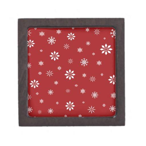 Modelo rojo y blanco de los copos de nieve caja de joyas de calidad