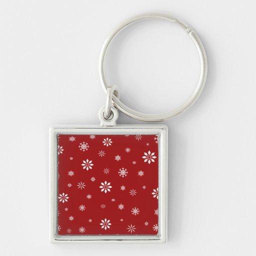 Modelo rojo y blanco de los copos de nieve llavero cuadrado plateado