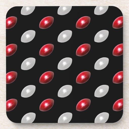 Modelo rojo y blanco de los fútboles posavasos de bebidas