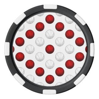 Modelo rojo y blanco del baloncesto juego de fichas de póquer