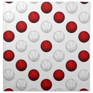 Modelo rojo y blanco del baloncesto servilleta de papel