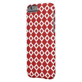 Modelo rojo y blanco del diamante funda de iPhone 6 barely there