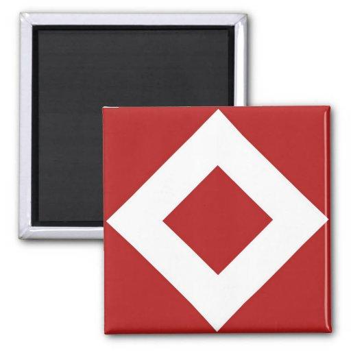 Modelo rojo y blanco del diamante imán