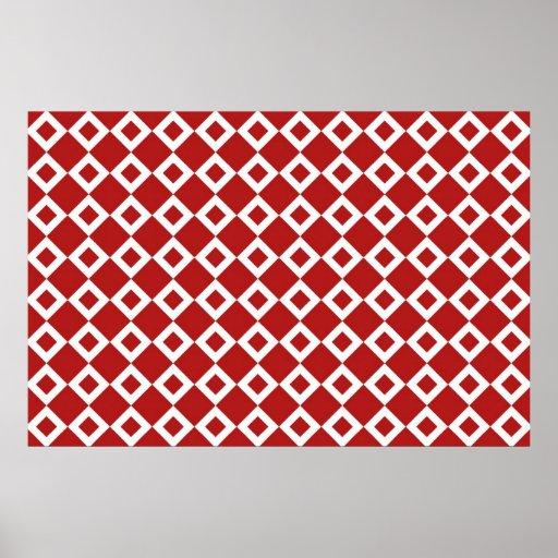 Modelo rojo y blanco del diamante poster