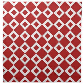 Modelo rojo y blanco del diamante servilleta