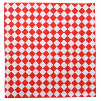 Modelo rojo y blanco del diamante servilleta imprimida