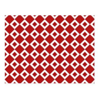 Modelo rojo y blanco del diamante tarjetas postales