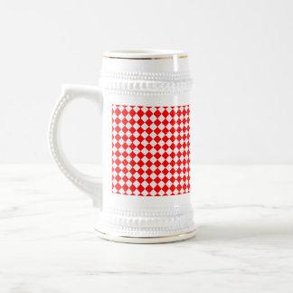 Modelo rojo y blanco del diamante jarra de cerveza
