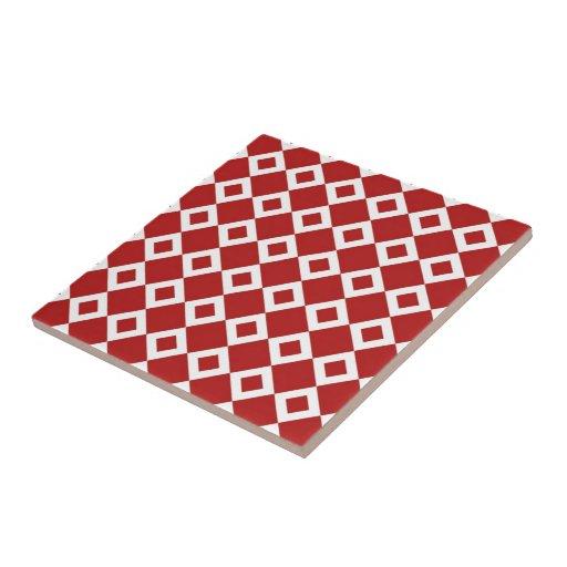 Modelo rojo y blanco del diamante teja cerámica