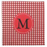 Modelo rojo y blanco del monograma de la guinga servilleta