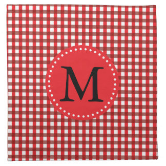 Modelo rojo y blanco del monograma de la guinga servilletas