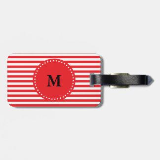 Modelo rojo y blanco del monograma de las rayas etiquetas para maletas