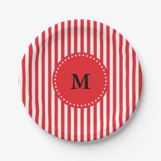 Modelo rojo y blanco del monograma de las rayas plato de papel de 7 pulgadas