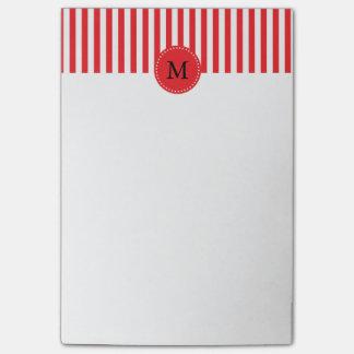 Modelo rojo y blanco del monograma de las rayas post-it® nota