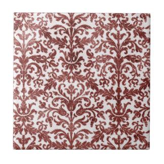 Modelo rojo y blanco del papel pintado del damasco azulejo cuadrado pequeño