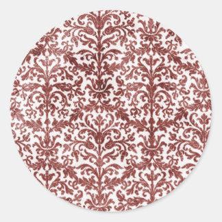 Modelo rojo y blanco del papel pintado del damasco etiquetas redondas
