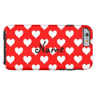 Modelo rojo y blanco personalizado del corazón funda de iPhone 6 tough