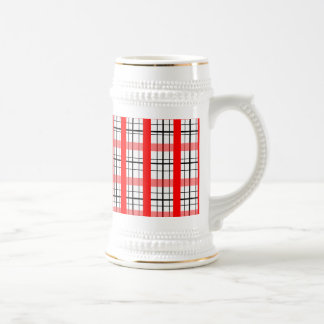 Modelo rojo y blanco retro de la tela escocesa tazas de café