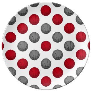 Modelo rojo y de plata/gris del baloncesto platos de cerámica