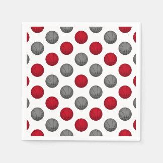 Modelo rojo y de plata/gris del baloncesto servilletas de papel
