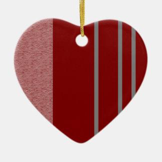 Modelo rojo y gris de Stiped Adorno Navideño De Cerámica En Forma De Corazón