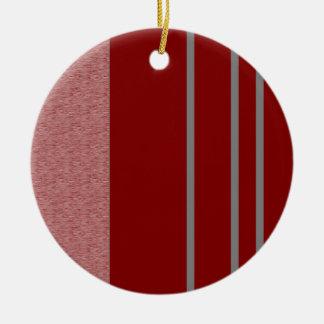 Modelo rojo y gris de Stiped Adorno Navideño Redondo De Cerámica