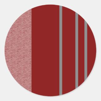 Modelo rojo y gris de Stiped Pegatina Redonda