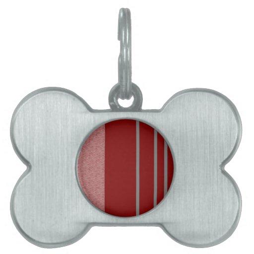 Modelo rojo y gris de Stiped Placa De Mascota