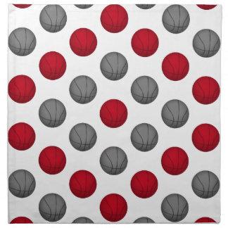 Modelo rojo y gris del baloncesto servilleta de papel