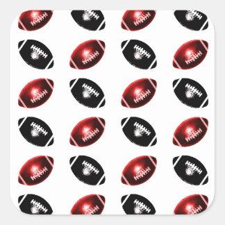Modelo rojo y negro brillante del fútbol pegatina cuadrada