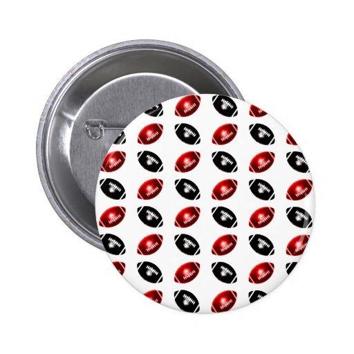 Modelo rojo y negro brillante del fútbol pin