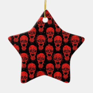 Modelo rojo y negro de la apocalipsis del zombi adorno de cerámica en forma de estrella