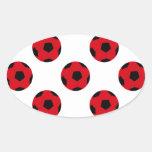 Modelo rojo y negro del balón de fútbol pegatinas ovales