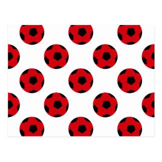 Modelo rojo y negro del balón de fútbol tarjetas postales