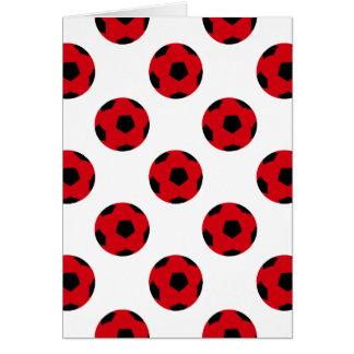 Modelo rojo y negro del balón de fútbol tarjetas