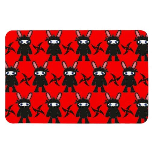 Modelo rojo y negro del conejito de Ninja Iman De Vinilo