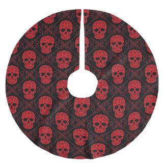 Modelo rojo y negro del cráneo del azúcar falda para arbol de navidad de poliéster