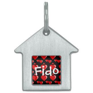 Modelo rojo y negro del el día de San Valentín de  Placa De Mascota