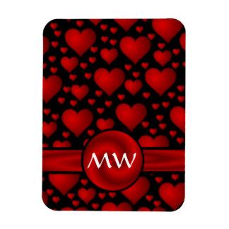 Modelo rojo y negro del monograma del corazón rectangle magnet