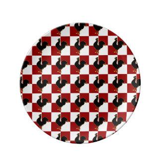 Modelo rojo y negro del pollo del gallo platos de cerámica
