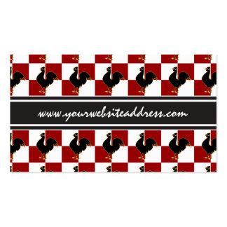 Modelo rojo y negro del pollo del gallo tarjetas de visita