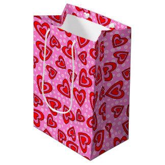 Modelo rojo y rosado de la tarjeta del día de San Bolsa De Regalo Mediana