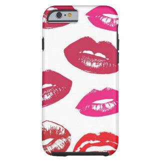 Modelo rojo y rosado de los labios funda resistente iPhone 6