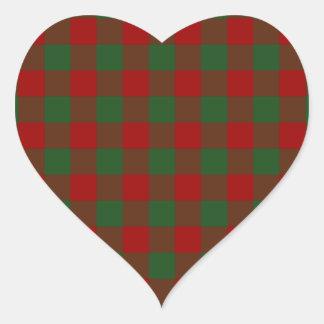 Modelo rojo y verde de la guinga colcomanias de corazon personalizadas