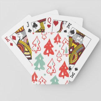 Modelo rojo y verde de los árboles de pino del cartas de póquer