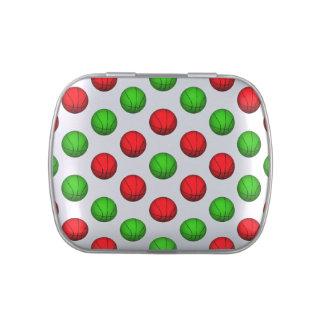 Modelo rojo y verde del baloncesto latas de dulces