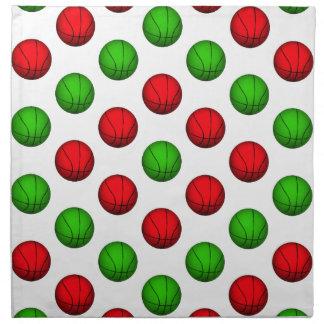 Modelo rojo y verde del baloncesto servilletas imprimidas