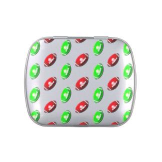 Modelo rojo y verde del fútbol latas de dulces